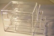Nuevo Maquillaje Cosmético Joyas Acrílico Transparente Pequeño Organizador Caja de almacenamiento de 3 Cajones