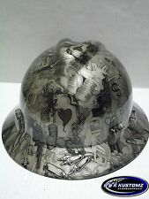 Gold High Stakes Pattern Full Brim New Custom MSA V-Gard Hard Hat W/FasTrac