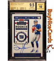 2019 Daniel Jones Panini Contenders RC Rookie SP Auto #102A BGS 9.5 Strong Subs