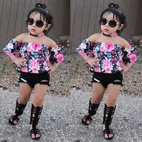 3PCS Toddler Kids Baby Girl Floral Off Shoulder Tops+Denim Shorts Pants+Headband