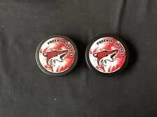 2X PHOENIX COYOTES HOCKEY PUCKS! ONLY SEEN A COUPLE OF THIS DESIGN!