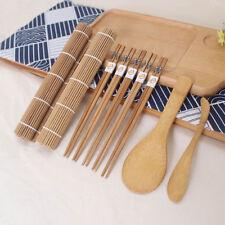 9pcs Sushi Roller Bamboo Mat Spoon Chopsticks Maker Food Rolling Too Kit New