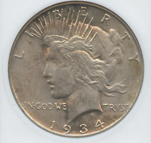 1934 D Peace Dollar Graded MS 62  Old ANACS  Mini Holder With Toning