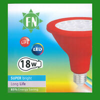 2x 18W PAR38 Red Coloured LED Flood Reflector ES E27 Light Bulb Lamp