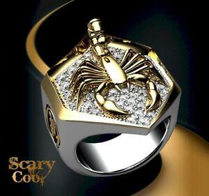 New Scorpion Biker Gold Mens Silver Mens Ring