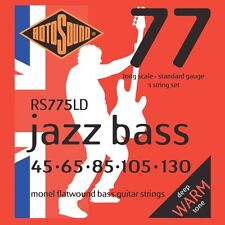 Rotosound RS775LD Monel 400 Top Tape Flatwound Bass Guitar Strings 45-130