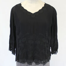 XCVI Plus Size Embroidered Black Lagenlook Tunic Blouse Top 2X