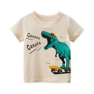 T-Shirt Boys Short Sleeves Tee Girls Collarless Top 100% Cotton Dinosaur ^