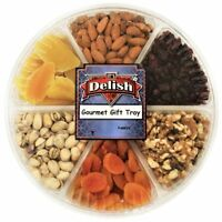Gourmet Fresh Nuts & Dried Fruit Variety Large Gift Tray 6-Section Healthy...