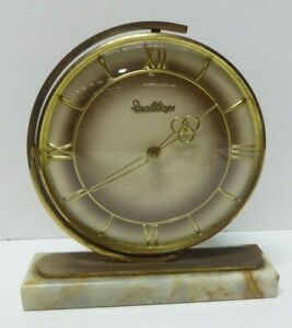 VINTAGE DUNKLINGS ONYX BASE CLOCK BRASS SWIVEL MOUNT - MID CENTURY