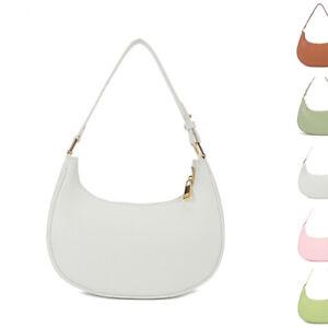Half Moon Small Leather Shoulder Bag Baguette Crossbody Purse Hand Carry Summer