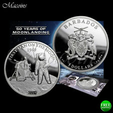 MOON LANDING: FIRST MAN ON THE MOON 2019 BARBADOS 1 OZ 999 SILVER PROOF COIN