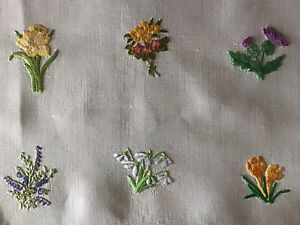 STUNNING LARGE VINTAGE HAND EMBROIDERED TABLECLOTH~INDIVIDUAL FLORAL DISPLAYS