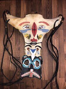 1950's Northwest Coast Native Painted Bovine Sacrum Totem / Effigy