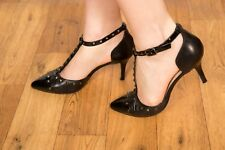Russell & bromley black patent leather studded t-bar heels size 4.5