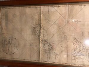 vintage antique J.W. Norie Bermuda map owned by a Port Jefferson NY Captain