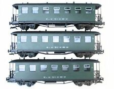 Train Set 3 Passenger Car, Green, Plastic Wheels, TB, G Scale Garden Railway