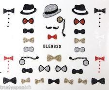 Nail Art Stickers Glitter Moustache Movember Tuxedo Bows UV Tips Decoration