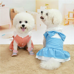 Sweety Puppy Pet Dog Clothes for Small Girl Dog Cotton Princess Dress Apparel