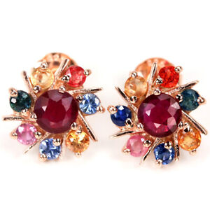 GENUINE AAA RED RUBY & MULTI COLOR SAPPHIRE ROUND STERLING 925 SILVER EARRING