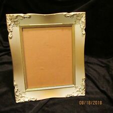 1960s Gold White Ornate Picture Frame Wall or Tabletop