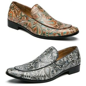 Men's Shoes Slip On Loafers Floral Printed Party Leisure Flat Pointy Toe Shoes