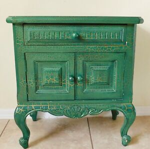 Antique/Vtg GREEN & GOLD Crackle Finish Wood Side/End Table Nightstand Chest