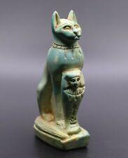 Egyptian Basted Cat Ubasti Antiques Goddess Egypt Statue Ushabti Carved Stone Bc