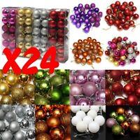 24x Balle Boule Pailleté pour Sapin de Noël Fêtes Décoration Ornament Maison 3cm