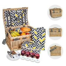 Luxury 4 Person Traditional Picnic Hamper Wicker Willow Basket Blanket Cooler XL