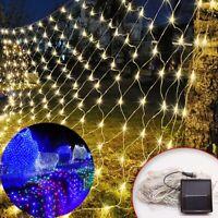 Solar LED Light Mesh Net Curtain String Fairy String Christmas Party Garden Deco