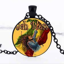 Jamaica reggae Black/Bronze/Tibet silver glass dome chain Pendant Necklace