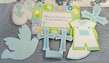 BOYS BLUE CHRISTENING PARTY DECORATION BANNER/BALL/CROSS SET. NIP