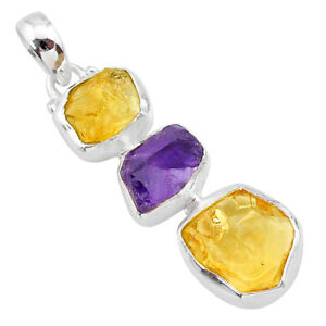 925 Sterling Silver 10.28cts Yellow Citrine Raw Amethyst Rough Pendant T33417