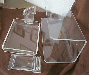 70er Jahre Acryl Plexiglas Schreibtischzubehör: Utensilo Guzzini,Regal,Zettelbox