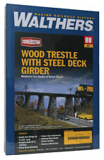 3147 Walthers Cornerstone Railroad Wood Trestle w/Deck Girder Bridge  HO Scale