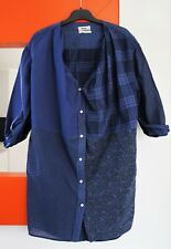 ACNE JEANS Quarter Sleeve Button Front Pattern Block Tunic Shirt Dress size 34