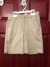 Size 6 Regular. Izod Boys School Uniform Khaki Beige Shorts Zipper Adjust Waist