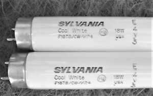 "2x Sylvania F18T8/CW/K24 18W 24"" Inch T8 Cool White Fluorescent Tube Light Bulb"