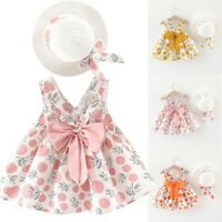 Toddler Baby Kids Girl Sleeveless Strap Dot Print Bow Princess Dress+Hat Outfits