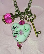 💜 HEART NECKLACE KEY CHARM BIRTHDAY GIFT for SISTER MOM FRIEND VINTAGE NEW 💜
