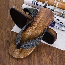 0af1a2b465d Mens Japanese Geta Clogs Flip Flops Thong Sandals Wooden Slippers Shoes  Seigaiha
