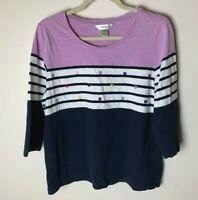 CJ Banks Women's Top Size X 14W Casual 3/4 Sleeves Cotton Stripes Navy Purple