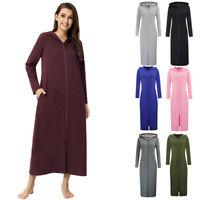 ZE Womens Winter Long Sleeve Hooded Sweatshirt Hoody Full Zip Long Dressing Wear
