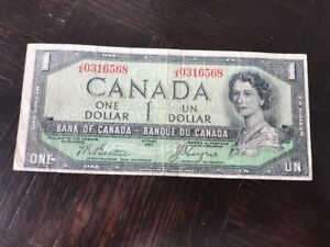 1954 $1 DEVILS FACE CANADIAN NOTE BILL AUTHENTIC