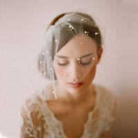 Ivory Bridal Birdcage Hat Veil Tulle 1 Layer Pearls Headpiece 2018 Wedding Veils