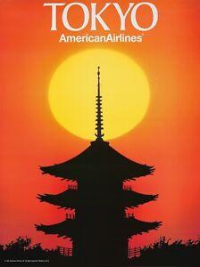 Original Vintage Poster American Airlines Tokyo Temple Sunset 1991Travel