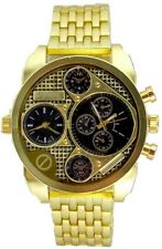 Dual Time Gold Watch Metal Mens Geneva Fashion Designer