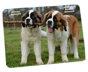 BRANCH MANAGER - FUNNY ST BERNARD DOGS - PREMIUM QUALITY MOUSEMAT/PAD -