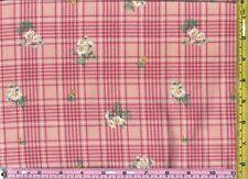 Bessie Gutmann Peach Rose Daisy Plaid Cotton FLANNEL 1/4 yard 22.5 cm off bolt